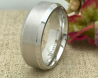 8mm Titanium Ring, Free Engraving , Personalized Custom Engraved TItanium Wedding Ring, Anniversary Ring, Brushed Finish, Father's Day Gift