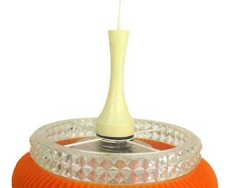 Vintage Chandelier Pendant Orange Plastic Bubbled glass Marbach Electric Retro