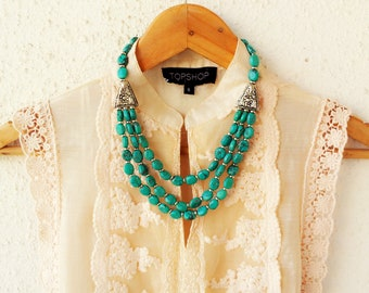 Turquoise Necklace/Statement Necklace/Bib Necklace/Statement Boho Necklace/Bohemian Necklace/Tibetan Style Necklace/Gypsy Necklace