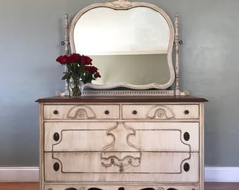 AVAILABLE - Antique White Vanity Dresser with Mirror