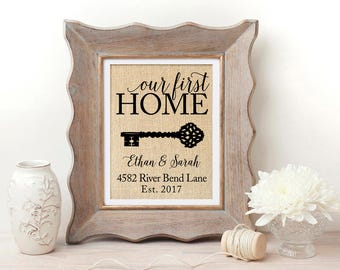 First Home Gift | New Home Housewarming Gift | Our First Home Sign | House Warming Gift | New Home Gifts | Address Sign | Closing Gift