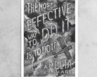 "Amelia Earhart Print, ""Do It"" Chalkboard Quote, Pilot, Aviator, Plane, Solo Flight, Clouds, 9x13, 13x19, 24x35.5"