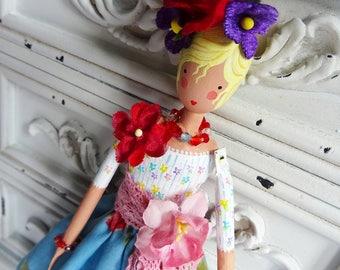 Handmade Art Doll, Collectors Doll, OOAK, Summer Dress, Helena