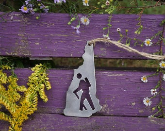 New Hampshire Hiker Steel Ornament Metal NH State Keepsake Host Gift Hike Wander Mountains By BE Creations