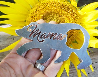 Mama Bear Bottle Opener Raw Steel Recycled Metal Industrial Drink Opener Mother Mom Mommy gift for her under 20 Stocking Stuffer