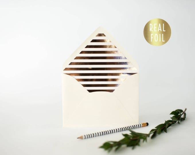 gold foil horizontal stripe lined envelopes (sets of 10)  // gold foil modern envelope liners lined envelope