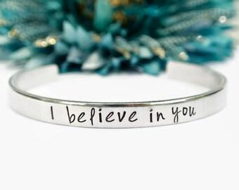 I Believe In You Bracelet   Inspirational Bracelet   Motivational Bracelet   Graduation Gift For Her I Believe In You Jewelry Sobriety Gift