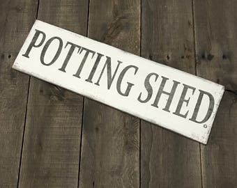 Potting Shed sign, garden sign, spring signs, garden Decor, Easter sign, spring decor, Spring sign on reclaimed wood,