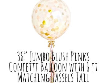 Blush Pink and Gold Confetti Balloon with Tassel Tail, Big Clear Balloon, Tassel Garland Confetti Balloon, Party Supply, Wedding, Photo Prop