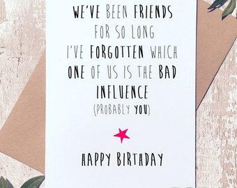 Funny birthday card, birthday card friend, Greeting Card, birthday card funny, birthday card for her, card for friend, funny card for friend