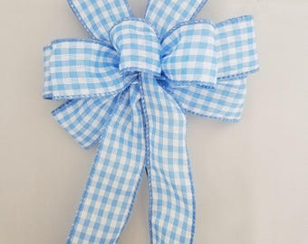 """Set of 4 Small 5-6"""" Hand Made Light Blue and White Check Bows"""