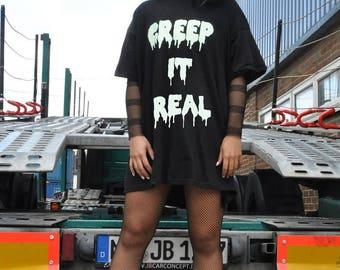 Glow In The Dark Creep It Real Black Halloween T-Shirt
