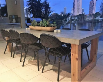 2.7m 8 To 10 Seater Bespoke Polished Concrete Dining Table With Custom  Timber Base,