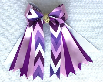 Equestrian Hair Bows/Beautiful Purple Chevron
