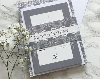 Modern Wedding Invitation Grey Damask Print Wedding Invitation Set reply card/belly band Wedding Invitation Suite Printed Invitation Sample
