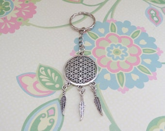 Silver Dream Catcher with Feathers Keychain - Ready to Ship