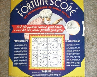Vintage 1935 Fortunescope The Prognosticator of Human Destiny Fortune Telling Game by S. S. Bloom made in USA