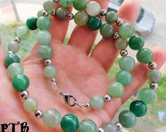 "Money/Luck/Chance ~ Authentic Natural Green Aventurine Gemstone Necklace 22 1/2"" 18k White Gold plated"