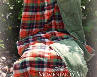 Weighted Blanket 44 x 70 inches / 8 to 20 lbs  - Mammoth Plaid Flannel/Olive Cuddle Minky
