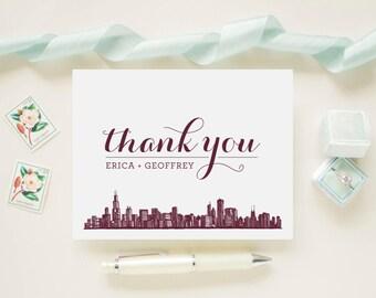 Custom Color Chicago Skyline Newlywed Wedding Thank You Cards,  Bridal Shower,  Wedding Cards - Personalized