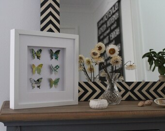 Butterfly Shadowbox Picture/Multi-coloured/ Butterflies/Papillions/3D Frame/Framed Wall Art/Paper Art
