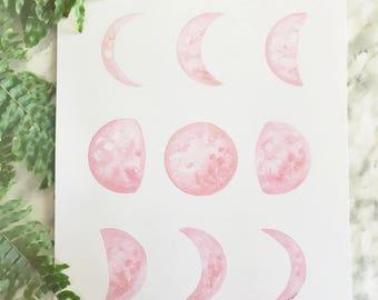 Pink Moon Phase Art, Moon Phase Print, Moon Phase Decor, Crescent Moon Art, Dreamy Moon, Boho Decor, Boho Moon, Moon Painting, Moon Art
