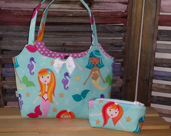 Mermaids in Teal Little Girls Purse