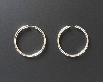 Real 925 Sterling Silver Hoop Earrings 35mm Plain with Capped Ends