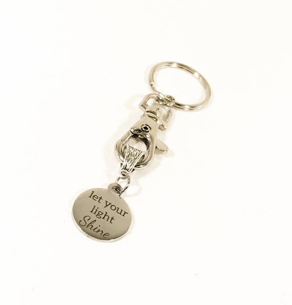 Motivational Keychain, Let Your Light Shine Keychain, Direct Sales Team Gifts, Motivational Gifts, Encouragement Gifts, New Job Gift Key fob