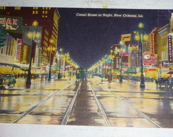 Canal Street at Night New Orleans, LA Vintage Linen View Postcard