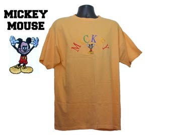 90s MICKEY MOUSE Embroidered T-Shirt Size XL Extra Large Mens Womens Orange Embroidery Disney Velva Sheen Walt Disney Minnie Goofy Donald