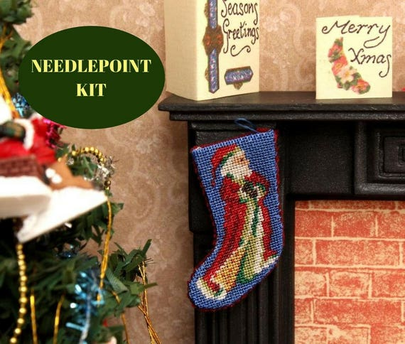 Dollhouse christmas needlepoint kit miniature christmas like this item solutioingenieria Gallery