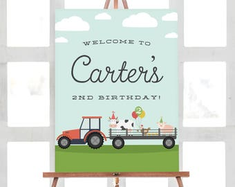 Farm Birthday Welcome Sign | Tractor Birthday Party | Customized Digital File