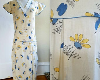 Windswept Leaves. Blue, Yellow, and White 1920's Novelty Print Cotton Summer Day Dress