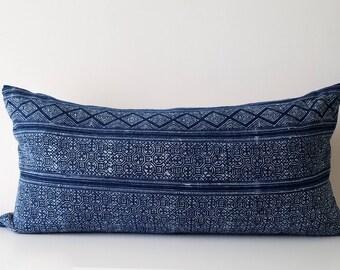 """Authentic Hmong Indigo Batik Pillow, Natural Indigo Tribal Batik,  14"""" x 26"""""""