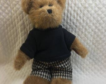 Boyds Edmund Bear, Boyds Head Bean Collection, Bailey & Friends, Edmund Bear, Jointed, Black Sweater, Houndstooth Pants
