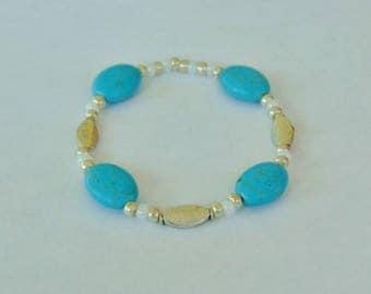 Turquoise Oval Gemstone Bead Stretchy Bracelet