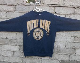 Vintage Sweatshirt Notre Dame University 1990s 80s Crackled Distressed Logo Preppy Grunge Large Unisex Hipster Skater Surfer Clueless Street
