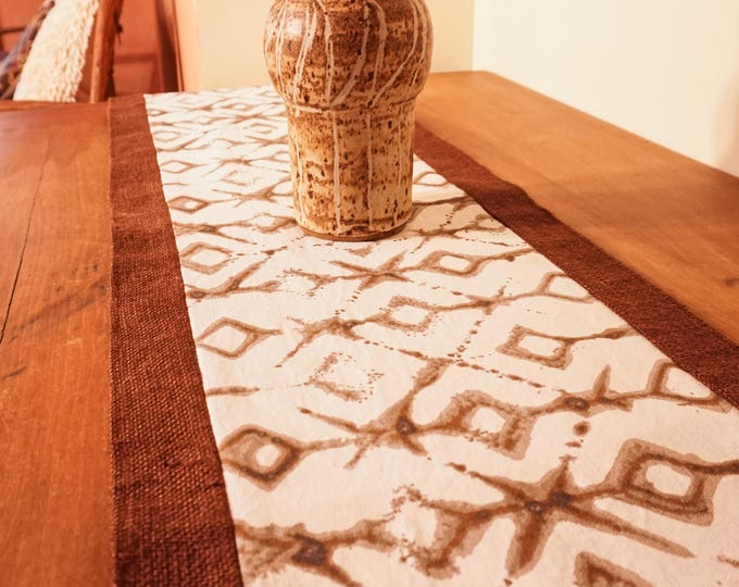 Burlap Table Runner-Tribal Fabric Table Runner-Tableware-Global Decor-Boho Decor-Rustic Decor-Christmas Gift for him