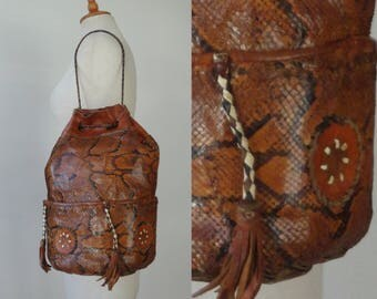 Brown Leather Vtg. Python Bag // Braided Strap