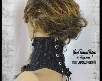 Gothic Neck Corset BONED Posture Collar Penny Dreadful NECK CORSET  by SweetDarknessDesigns