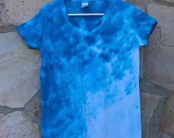 Blue Ombre Women's Medium Tie Dye Tee Shirt