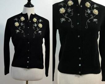1950s BardKnit Beaded Sweater / 50s Vintage Beaded Cardigan / Mid Century / Small S Medium M / Black / Orlon Sweater / Beaded Flowers
