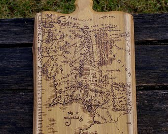 The Lord of the Rings inspired Middle Earth map solid oak chopping board woodburnt by hand