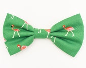 The Engert Bow Tie — Brooklyn Bowtied, Dog Bowtie, Flamingo, Flamingos, Green, Wedding, Dog of Honor, Ring Bearer,  Bowti, Preppy, Birds