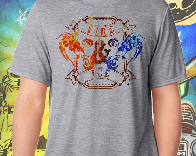 Game of Thrones / Drogon vs Viserion Dragon Fire and Ice Craft Beer / Men's Gray Performance T-Shirt