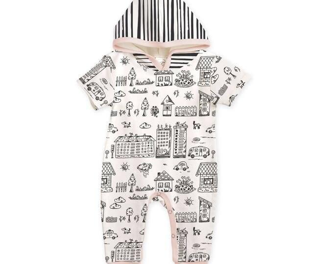 Baby Girl Hoodie Romper, Newborn Baby Girl Romper, Baby Hoodie, Baby Hooded Romper, Infant Onesie Long Sleeve Romper, Neighborhood