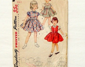 Vintage 1953 Simplicity Toddler Jumper Sewing Pattern #4407 - Size 2 - **Missing Blouse pieces
