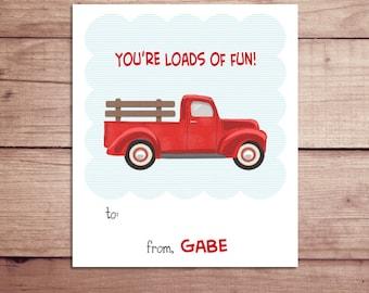 Truck Mini Notes - Truck Valentine's Day Cards - Truck Lunchbox Notes - Truck Flat Mini Notes - Children's Valentines - Teacher Valentines