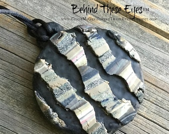 Fractured Earthtones Chunky Rustic Polymer Clay Pendant
